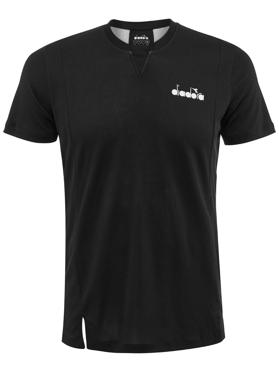 Diadora noir /& jaune à manches courtes T-Shirt